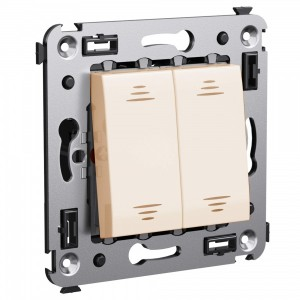 Выключатель двухклавишный в стену DKC Avanti, ванильная дымка