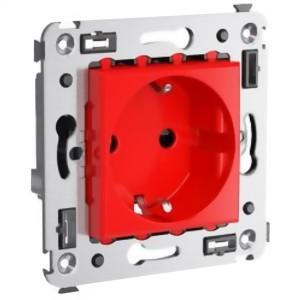 Розетка в стену, 2P+E, с з/ш, Avanti, Красный квадрат