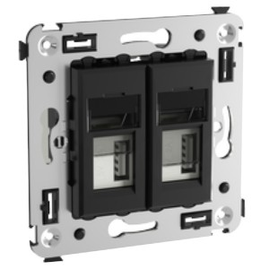 Зарядное устройство USB в стену 5В,2,1А  DKC Avanti, черный квадрат