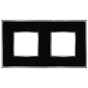 Рамка 2-ная Fede Vintage Corinto, blackquartz-bright chrome