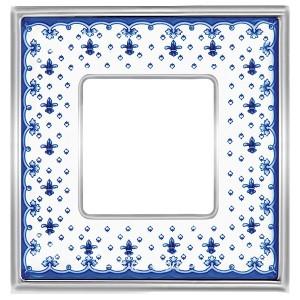 Рамка 1-ная Fede Vintage Tapestry Porcelain, blue lys - bright chrome