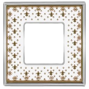 Рамка 1-ная Fede Vintage Tapestry Porcelain, brown lys - bright chrome
