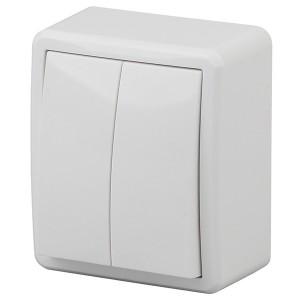 Выключатель двойной с подсветкой 10АХ-250В IP20 открытой установки Эра Эксперт, белый 11-1205-01