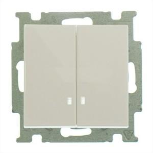 Выключатель двухклавишный с подсветкой ABB Basic 55 слоновая кость (2006/5 UCGL-92) (бежевый)