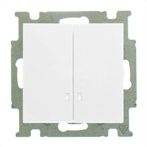 Выключатель двухклавишный с подсветкой  ABB Basic 55 альпийский белый (2006/5 UCGL-94)