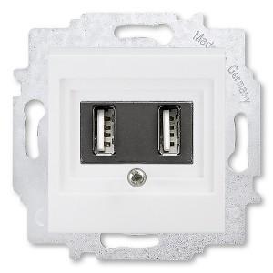USB зарядка двойная ABB Levit USB тип А 1400мА белый (5014H-A00040 03W)