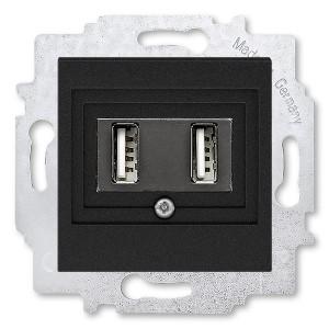 USB зарядка двойная ABB Levit USB тип А 1400мА антрацит (5014H-A00040 63W)
