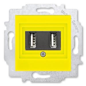 USB зарядка двойная ABB Levit USB тип А 1400мА жёлтый (5014H-A00040 64W)