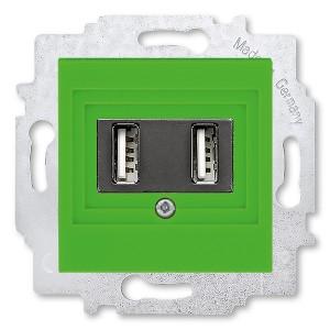 USB зарядка двойная ABB Levit USB тип А 1400мА зелёный (5014H-A00040 67W)