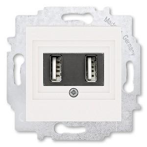 USB зарядка двойная ABB Levit USB тип А 1400мА жемчуг (5014H-A00040 68W)