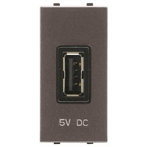 USB зарядное устройство 1 модуль 2000мА ABB Zenit,антрацит (N2185.2 AN)