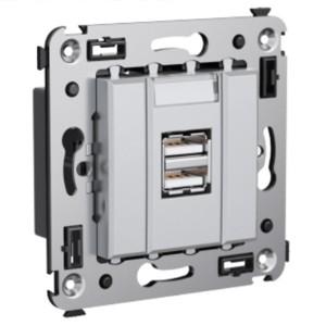 Зарядное устройство USB в стену 5В,2,1А  DKC Avanti, закаленная сталь