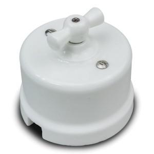 Выключатель 2-клавишный Bironi Лизетта , керамика белый