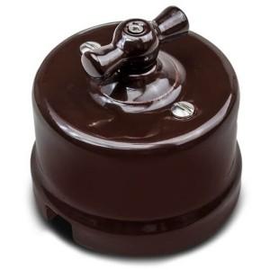 Выключатель 2-клавишный Bironi Лизетта , керамика коричневый
