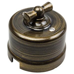 Выключатель 2-клавишный Bironi Лизетта , пластик бронза