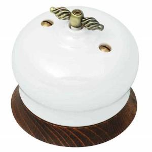 Выключатель перекрестный 1-клавишный Bironi Фаберже, керамика цвет перламутр