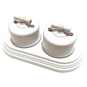 Два переключателя 1-клавишного с 2-местной рамкой Bironi Лизетта пластик, белый