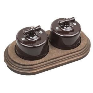 Два переключателя 1-клавишного с 2-местной рамкой Bironi Лизетта (керамика/бук), коричневый/старое д