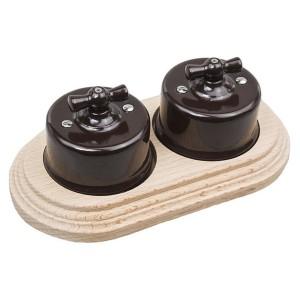 Два переключателя 1-клавишного с 2-местной рамкой Bironi Лизетта (керамика/бук), коричневый/натурель
