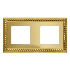 Рамка на 2 поста гор/верт. Fede SEVILLA, bright gold