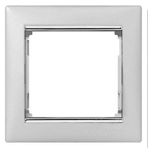Рамка Legrand Valena 1 пост алюминий/серебряный штрих