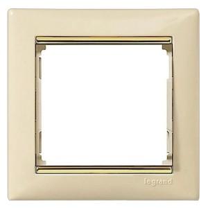 Рамка Legrand Valena 1 пост слоновая кость/золотой штрих