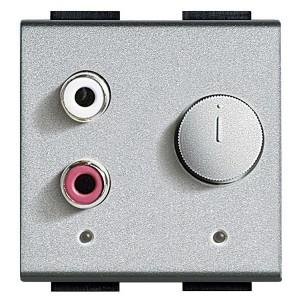 Встраиваемый разъем RCA для внешней стереосистеме 2м Bticino MyHOME LivingLight алюминий