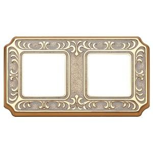 Рамка 2-ная Fede SIENA, gold white patina