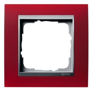 Рамка 1-ая Gira Event Матово-Красный цвет вставки Алюминий