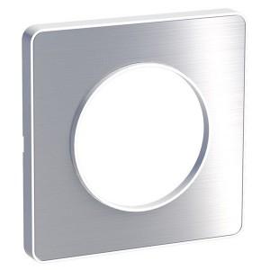 Рамка Odace 1 пост полированный алюминий (белая вставка)