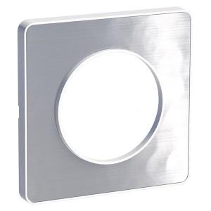 Рамка Odace 1 пост алюминий мартель (белая вставка)
