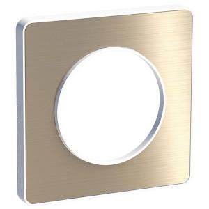 Рамка Odace 1 пост полированная бронза (белая вставка)