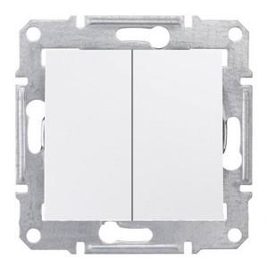 Выключатель двухклавишный IP44 Sedna белый
