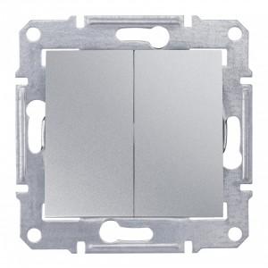 Выключатель двухклавишный IP44 Sedna алюминий