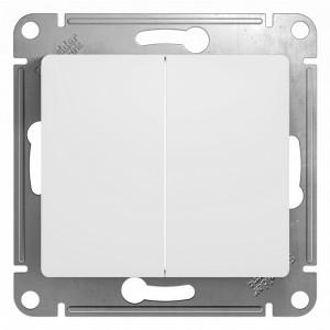Двухклавишный выключатель 10А механизм SE Glossa, белый