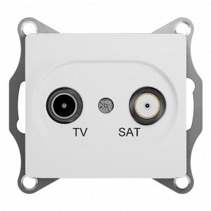 TV-SAT розетка проходная 4DB механизм SE Glossa, белый