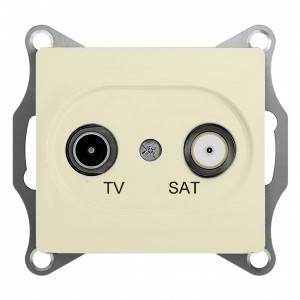 TV-SAT розетка оконечная 1DB механизм SE Glossa, бежевый