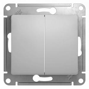 Двухклавишный выключатель 10А механизм SE Glossa, алюминий