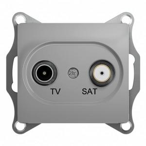 TV-SAT розетка оконечная 1DB механизм SE Glossa, алюминий