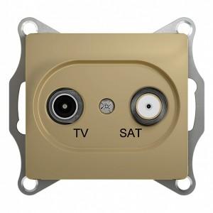 TV-SAT розетка оконечная 1DB механизм SE Glossa, титан