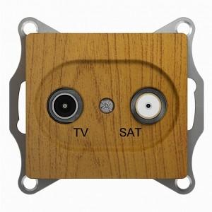 TV-SAT розетка оконечная 1DB механизм SE Glossa, дерево дуб