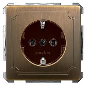 Розетка c/з автозажим Merten System Design Античная латунь