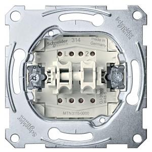 Выключатель 2-клавишный 10A Merten механизм