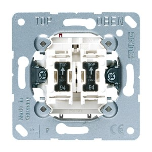Выключатель 2-клавишный с подсветкой 10а Jung механизм