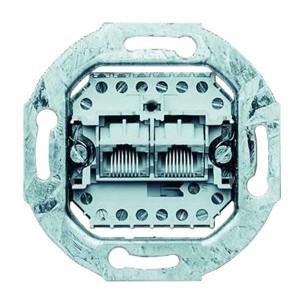 Телефонная розетка двойная 2хRJ11(RJ45) 8 контактов Jung механизм