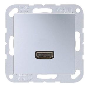 Розетка HDMI 1 местная Jung A Алюминий механихм+накладка