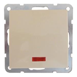 Выключатель 1-кл., c индикатором (схема 1L) 16 A, 250 B Экопласт LK60, бежевый