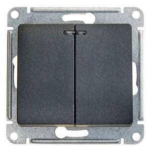 Двухклавишный выключатель с подсветкой 10А механизм SE Glossa, антрацит
