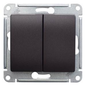 Двухклавишный выключатель 10А механизм SE Glossa, шоколад