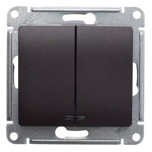 Двухклавишный выключатель с подсветкой 10А механизм SE Glossa, шоколад